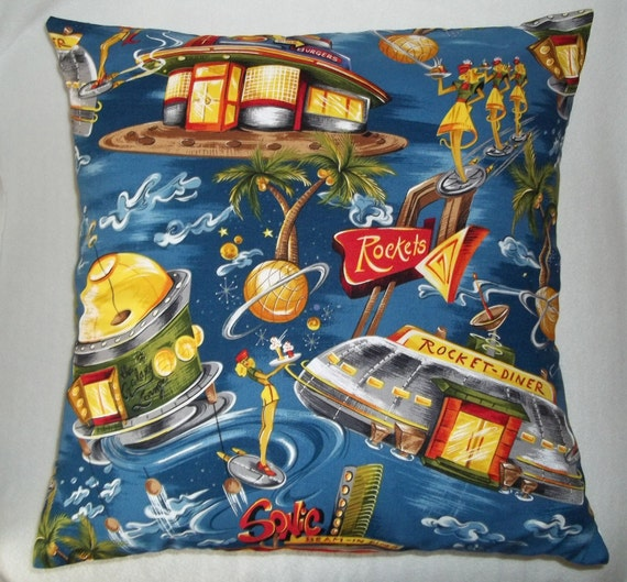 Retro space cotton cushion coverthrow pillow cover by for Space themed fleece fabric