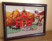 Vintage Needlepoint Recess Time Picture
