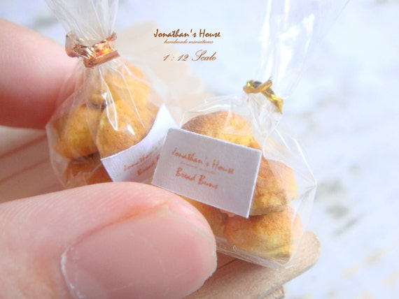 Miniature Bread Buns - Miniature Food Dollhouse Bread Miniature Breakfast Bakery 1:12 Scale Dollhouse Food