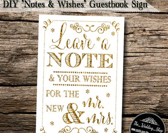 "Instant Download- 4"" x 6"" Printable JPEG Gold Glitter Effect DIY Wedding Guestbook Sign: Leave a Note and Your Wishes for the New Mr. & Mrs"