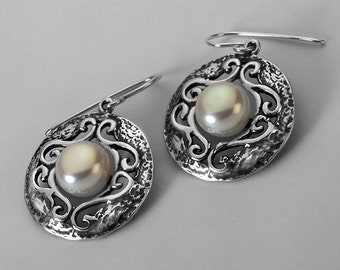 Sterling Silver Oxidized Decorative Earrings With FW Pearl