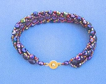 Purple Beadwork Bracelet with Orange Highlights