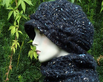 Set of scarf and hat,woman hat, scarves, women scarf and hat, winter woman hat, black hat, winter scarves, thick scarf, black knit hat scarf