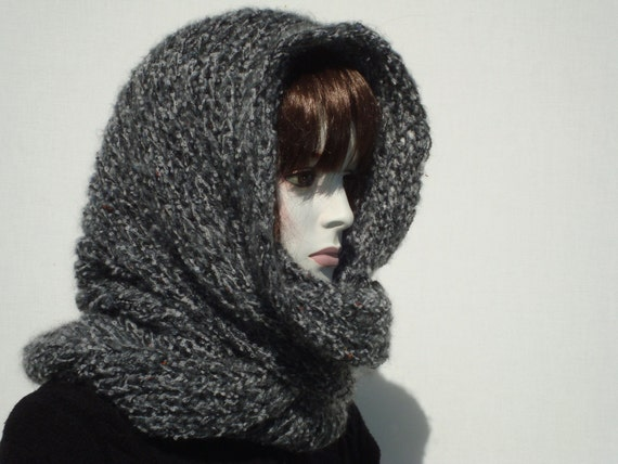 Woman Hooded Scarf Infinity Scarf Winter Thick Scarf Grey