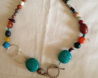Gemstone, turquoise and silver necklace