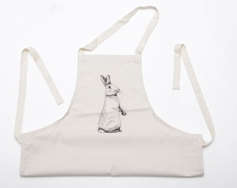 Peering Rabbit cotton apron, country style chic (adult)
