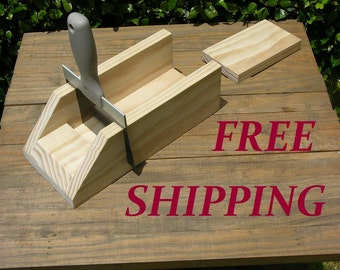 Soap Cutter Straight Bars - Wooden Miter Box w/ Knife - Log / Loaf style - cut 1 or 1.25 inch **Free Shipping**