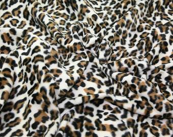 "Snow Leopard - Animal Print Polyester Velboa Fabric - Metre/Half - Faux Fur Pony Skin 58"" (145cm) wide Velour"