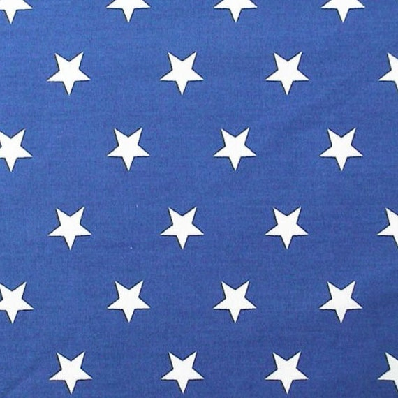 White stars on royal blue 100 cotton poplin by for Boys curtain material