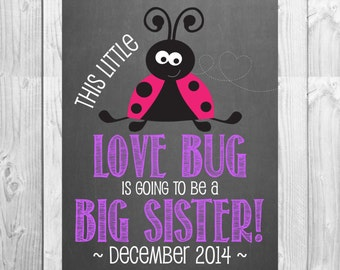 Big Sister Pregnancy Announcement Chalkboard Photo Prop | This Little Love Bug | Size: 11x14 | *Digital File* | by MMasonDesigns