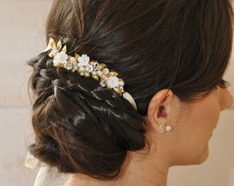 Headband Bohemian marriage, leaves, gold and ivory