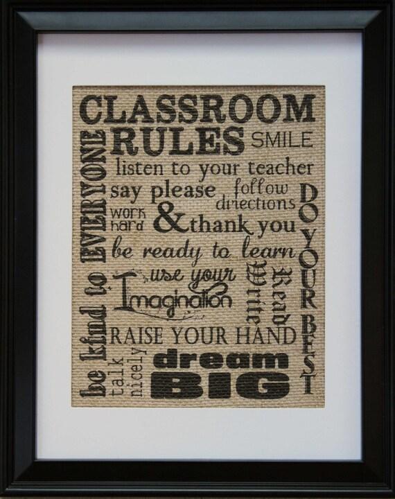 Teacher Gift Classroom Rules On Burlap Burlap By