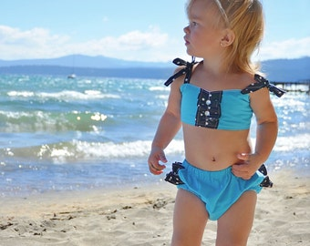 Infant Bathing Suit Baby Swim Suit Turquoise and Black  Ruffle Bikini for Baby Photo Prop