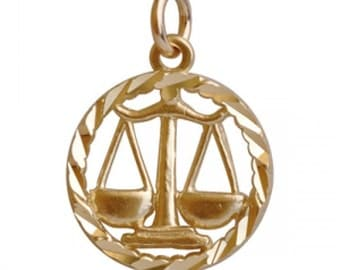 10K Yellow Gold Libra Pendant