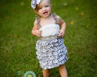 Chevron petti dress - vintage lace dress - bridesmaid dress - flower girl dress - grey and white flower girl dress