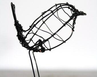 Hand made wire wren sculpture