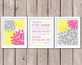 "INSTANT DOWNLOAD -Dahlin Flower Quote You Are My Sunshine Printable Wall Art Print 8""x10"" (jpeg file) Yellow and Pink Kids Decor"