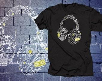 Headphones T-Shirt Music Tshirt Shirt Tee