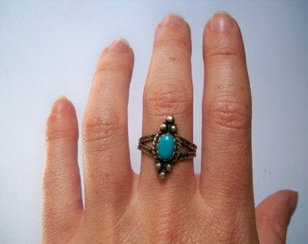 Turquoise and Silver Ring. Size 8