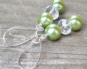 Penelope - Clear Faceted Jewel and Green Pearl Beaded Silver Dangle Earrings