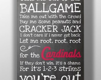 St. Louis Cardinals- Take Me Out to the Ballgame Chalkboard Print
