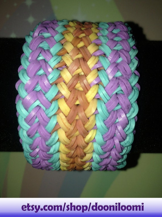 How To Make A Small Basket Weave Loom Bracelet : Ultra thick weave braid rainbow loom stretch rubber band