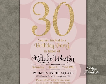 30th Birthday Invitations - Pink & Gold Thirtieth Birthday Invites - Thirty Or Any Age - Gold Glitter and Pink Birthday Printables - PHD