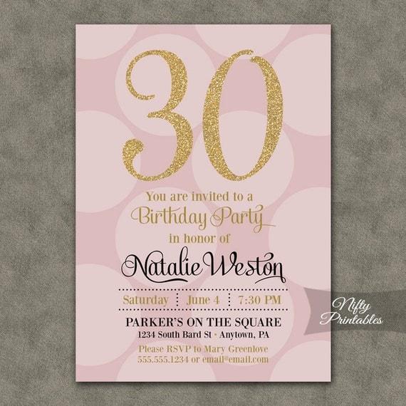 30th Birthday Invitations Pink & Gold Thirtieth Birthday