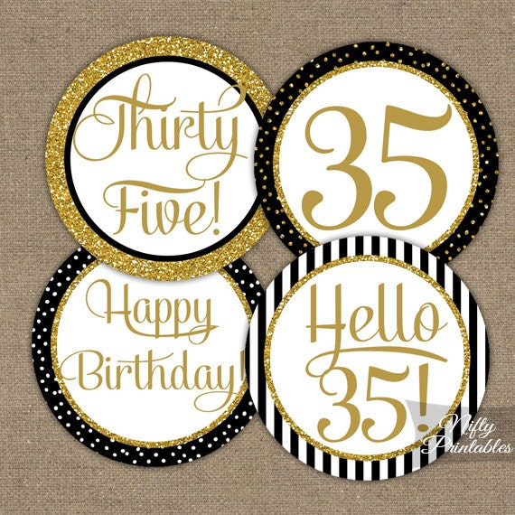 35th birthday cupcake toppers black gold 35 years bday for 35th birthday decoration ideas