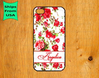 Floral Pattern Monogram iPhone 5s Case, iPhone 5c Cover, iPhone 4 4s Cases,iPhone SE Case