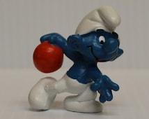 SMURF BOWLING, Vintage Smurf figure, vintage bowling figure, 1979 Vintage Schleich, gift for collector, vintage pvc figure, toy for child