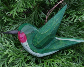 Hand Carved Bird Ornament  (Hummingbird)