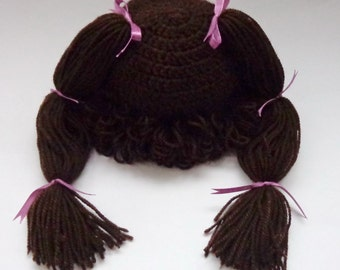 Cabbage Patch Kid Hat Inspired Crochet Wig, Choose your color and size Bunch Pigtail Style