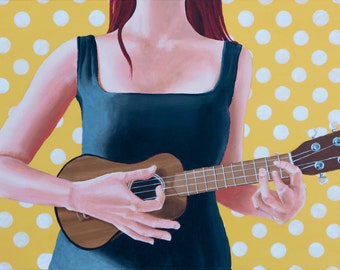 Ukulele girl - Limited edition art print