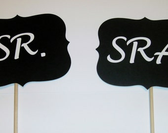 DIY Mr and Mrs Sr. and Sra. Spanish Photo Booth Prop (2066D)