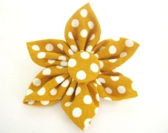 Dog Collar Flower - Yellow Polka Dot