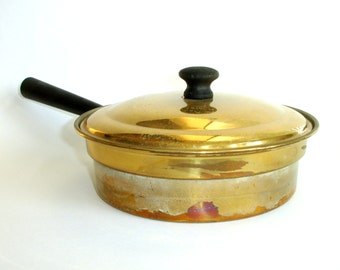 Vintage Old Brass Pot with Lid, Lidded Sauce or Saute Pan, Tin Lined, Rustic Kitchen, Farmhouse Shabby Cottage Chic Decor