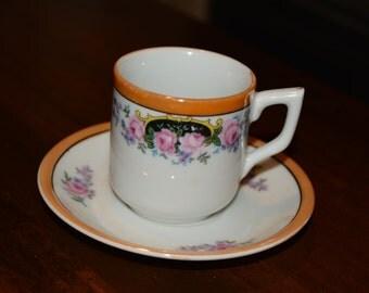 Demitasse Tea cup, Garden Party Tea Cup and Saucer, Floral Teacup, Demitasse Tea Set