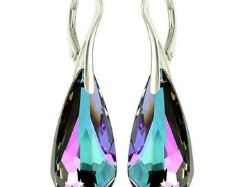 925 Sterling Silver Faceted Teardrop Swarovski Crystal