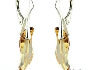 925 Sterling Silver Faceted Wave Swarovski Crystal Leverback Earrings