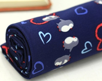 Twill Cotton Fabric Penguin Navy By The Yard
