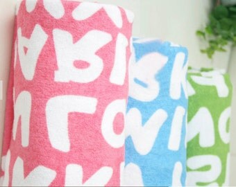 Terry Cloth Fabric Alphabet in 3 Colors By The Yard