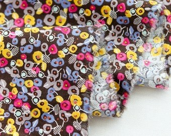 Cotton Fabric Candy Flower Brown By The Yard