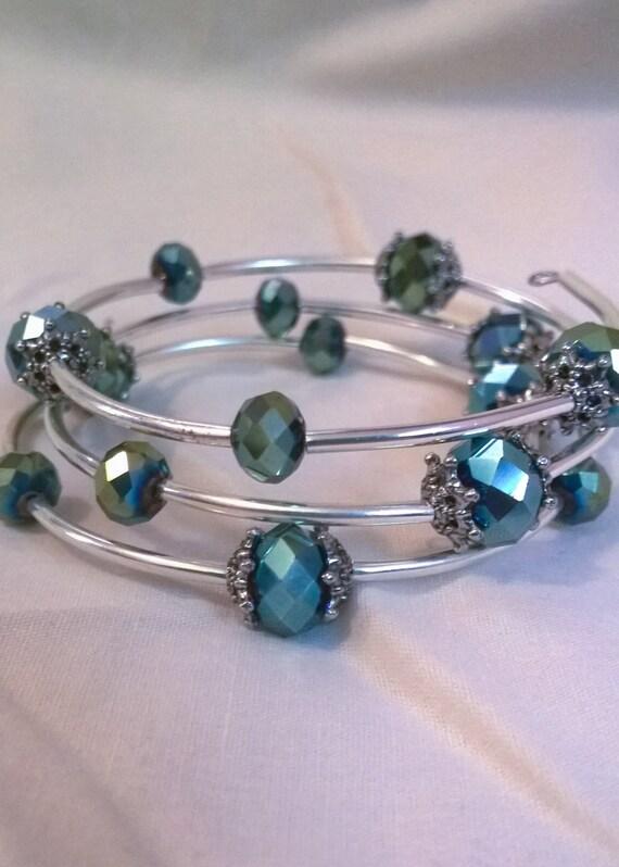 Green Iridescent Coil Bracelet