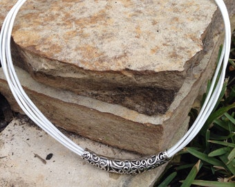White  Leather Necklace,  Statement Necklace,Leather necklace,Silver Necklace,