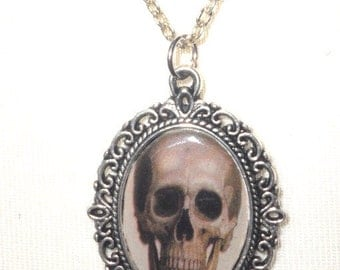 Winter Sale Macabre Horror Gothic Skull Small Silver Cameo Pendant Necklace