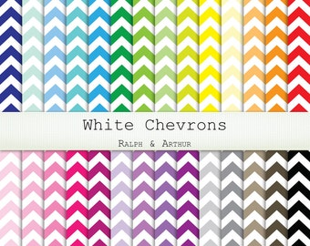 Chevron Digital Paper  - 28 Sheets - Digital Scrapbooking Paper - 12x12 8.5x11 A4 Personal and Commercial - Instant Download - Rainbow R215