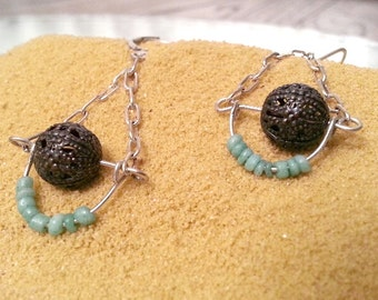 Earrings - Brass Filigree and Turquoise Chain Drop