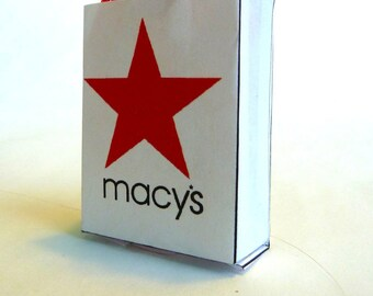 shopping bag with tissue Macy's dollhouse miniature 1/12 scale.