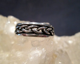 Open Braided Wedding Band ~Sterling Silver~ Hand Cast  Size 9 3/4